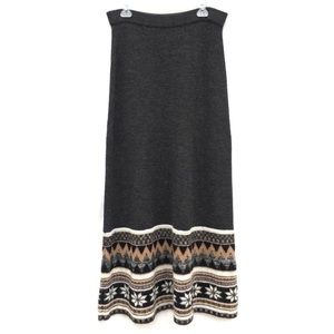 Anthro Sleeping On Snow Fair Isle Maxi Skirt